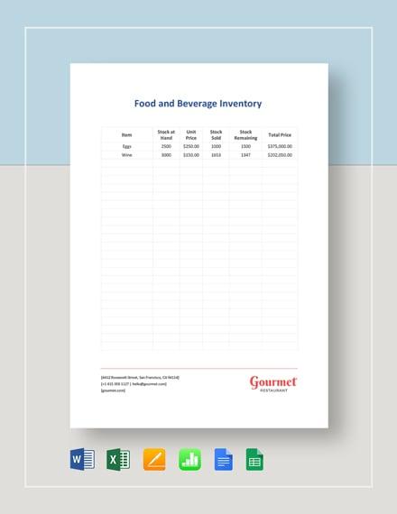 Food & Beverage Inventory Template
