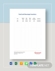 Food & Beverage Inventory Template