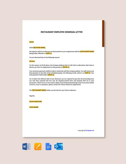 Restaurant Employee Dismissal Letter Template