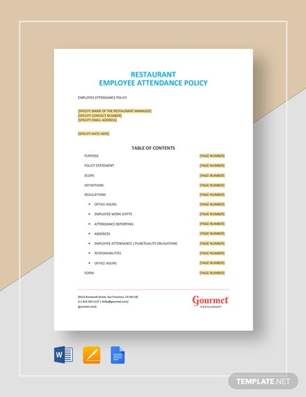 Restaurant Employee Attendance Policy Template