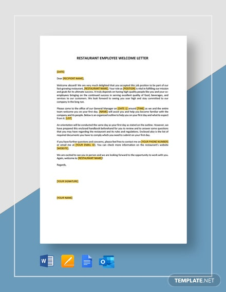 Restaurant Employee Welcome Letter Template