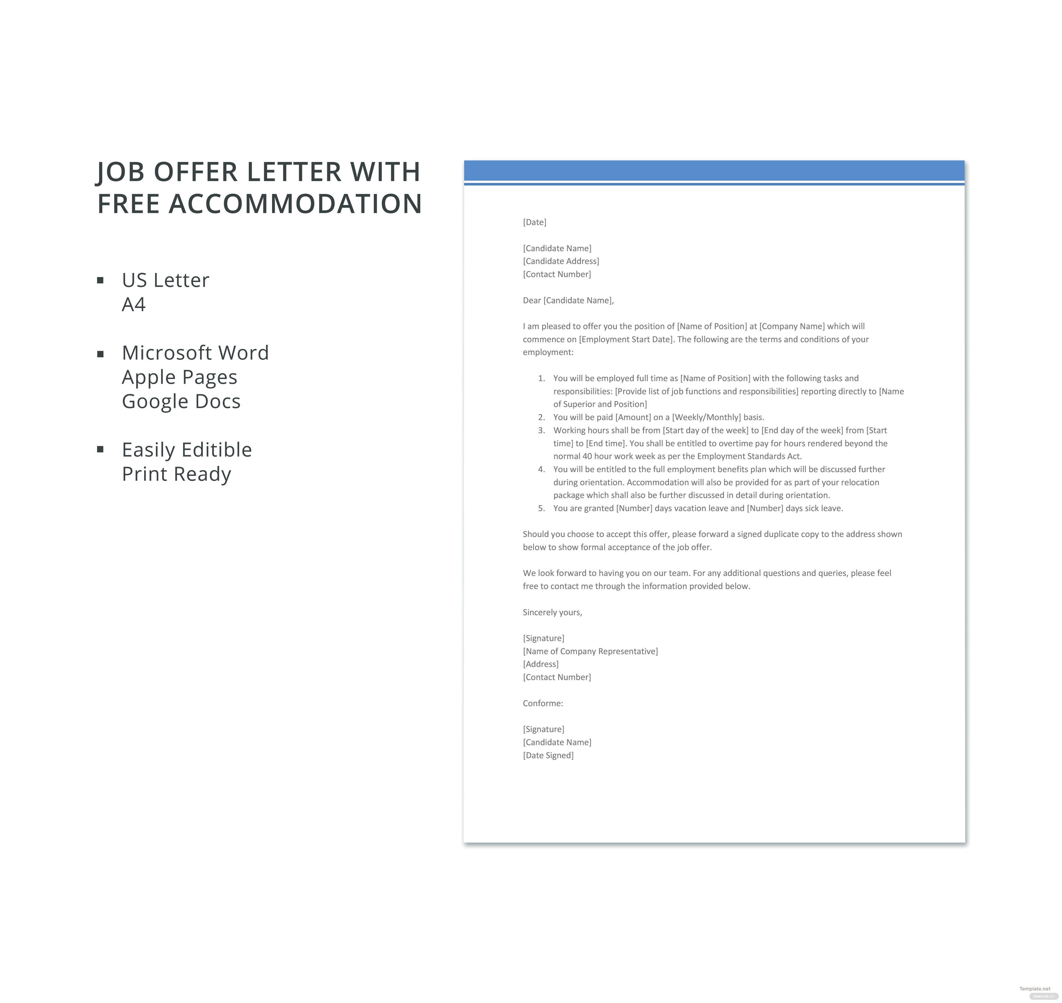 Job offer letter with free accommodation template in microsoft word job offer letter with free accommodation template altavistaventures Images
