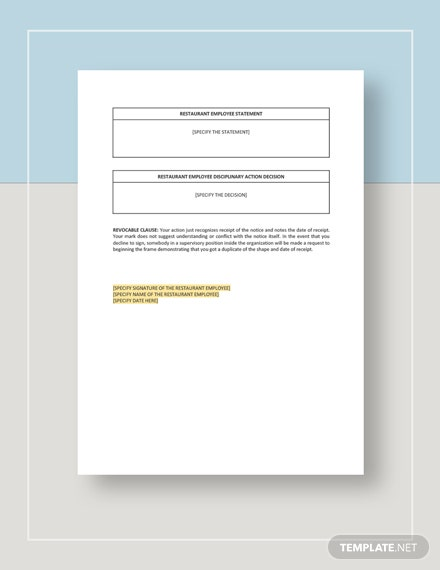 Restaurant Employee Corrective Action Notice Download