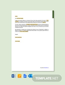 Restaurant Employee Promotion Letter Template
