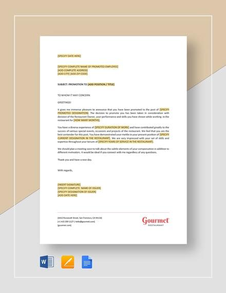 Restaurant Employee Promotion Letter Template