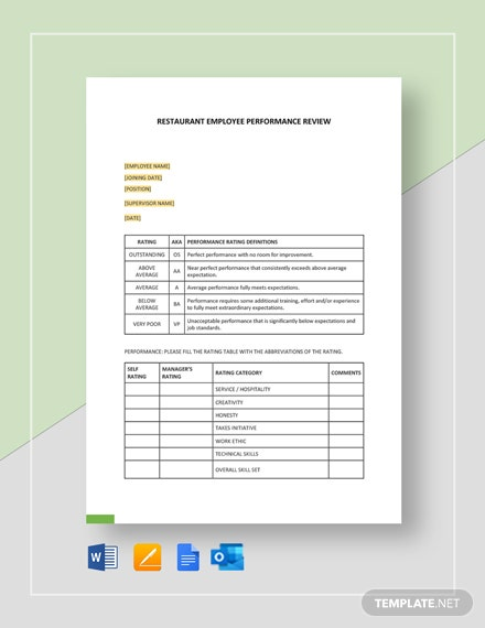 Restaurant Employee Performance Review Form Template