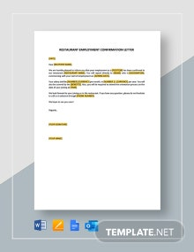 Restaurant Employment Confirmation Letter Template