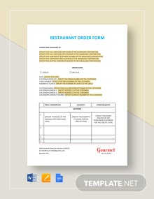 Restaurant Order Form Template