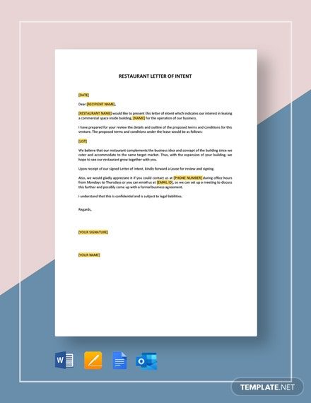Restaurant Letter of Intent Template