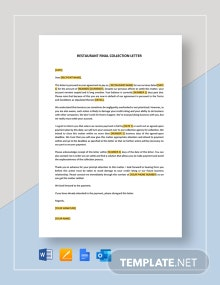Restaurant Final Collection Letter Template