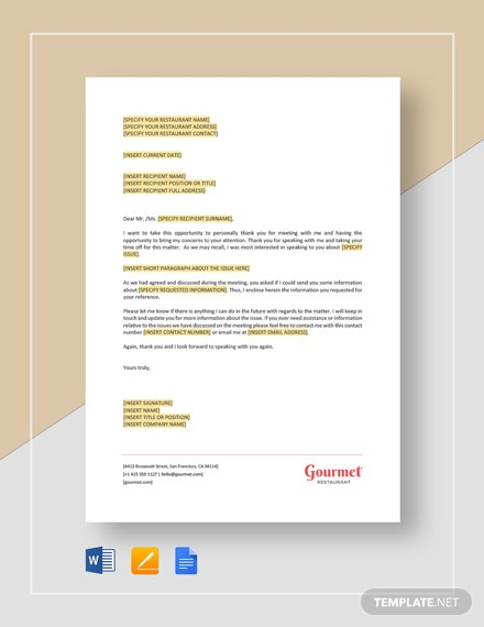 Restaurant Meeting Thank You Letter Template
