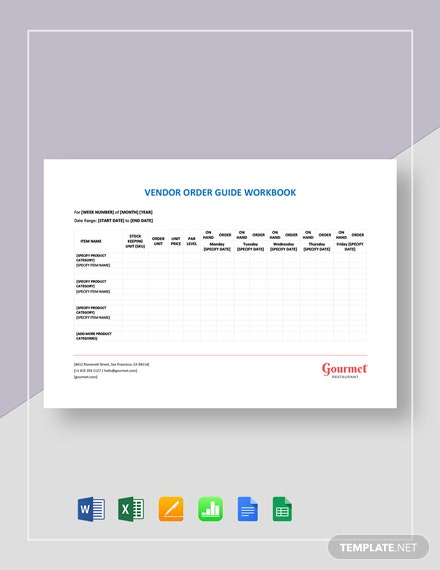 Restaurant Vendor Order Guide Workbook Template