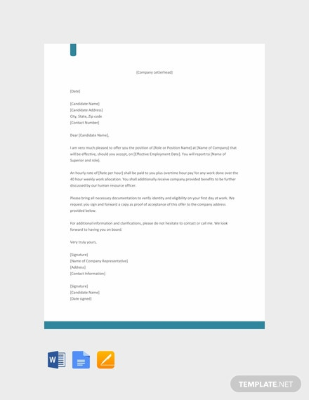 free non exempt offer letter template