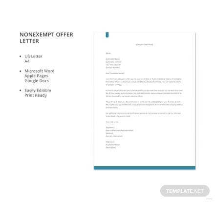 Free Non-exempt Offer Letter Template