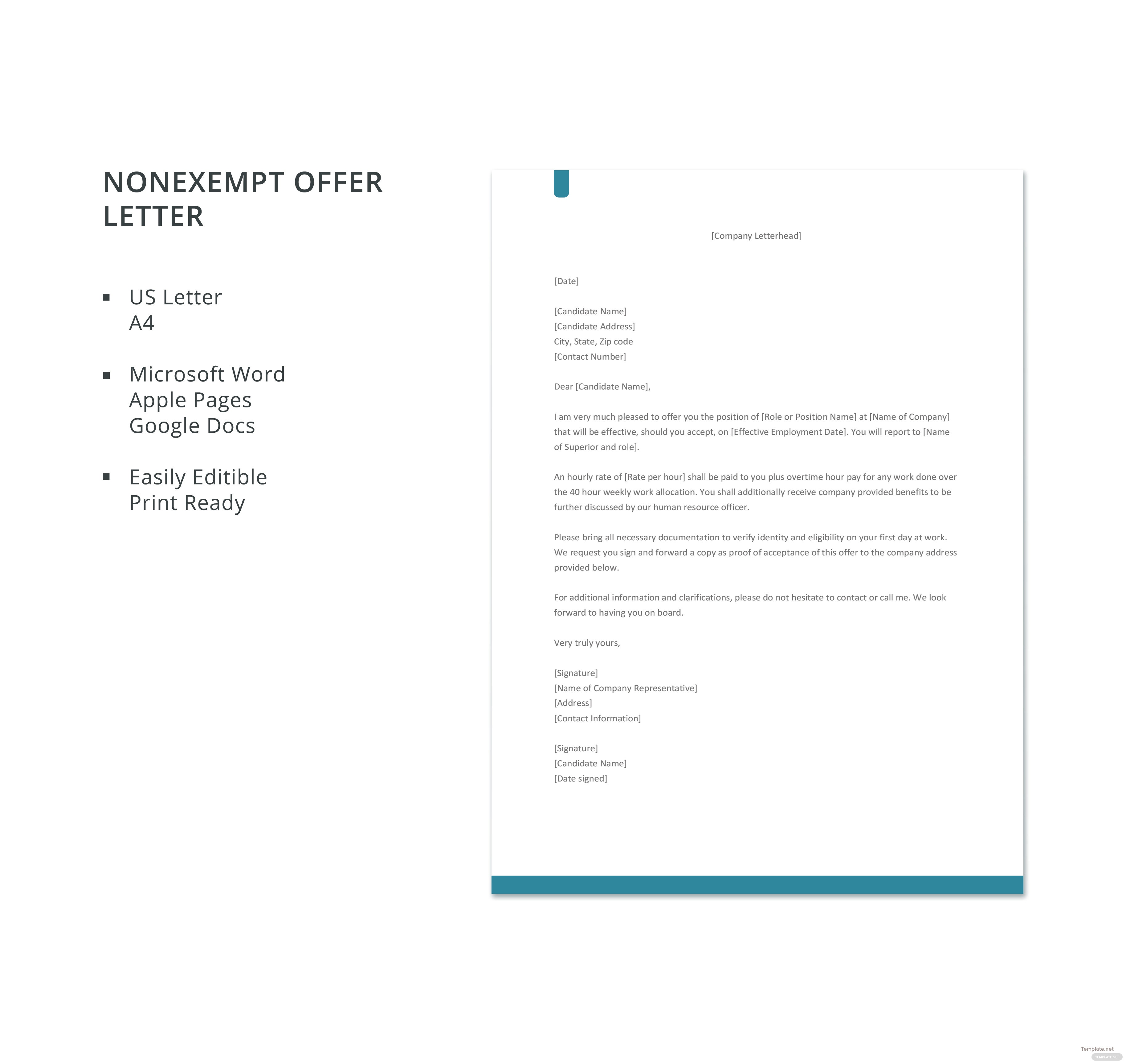 ... Offer Letter Hourly Rate Invoice Template Hourly Rate Recommendation Letter  Template ...