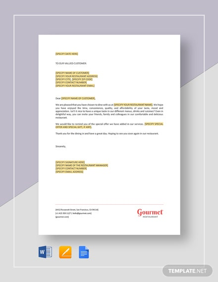 Restaurant Thank You For Your Order Letter Template