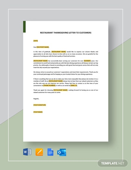 Restaurant Thanksgiving Letter to Customers Template