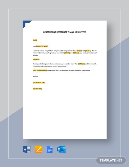 Restaurant Reference Thank You Letter Template