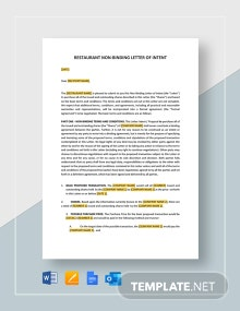 Restaurant Non-Binding Letter of Intent Template