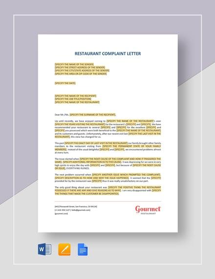 Restaurant Complaint Letter Template