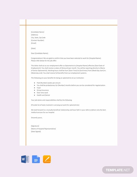 Free Offer Letter From Hospital for Optometrist Post Template