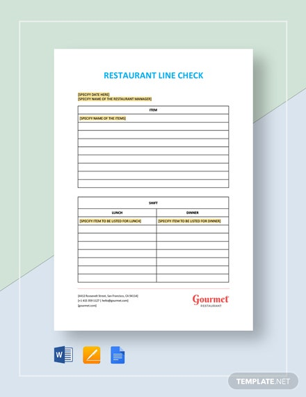 Restaurant Line Check Template