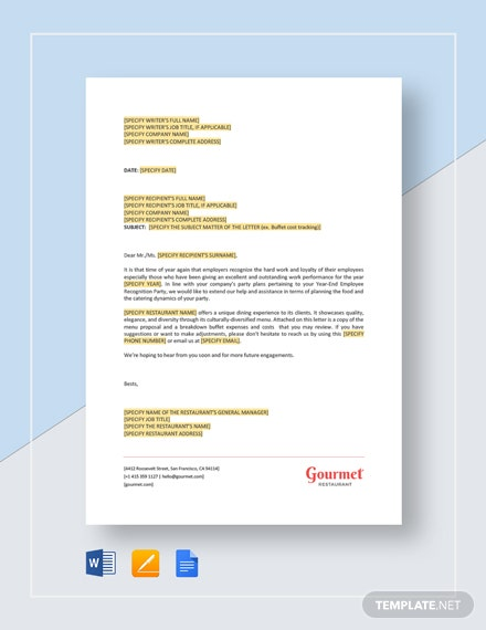 Restaurant Buffet Cost Tracking Letter Template