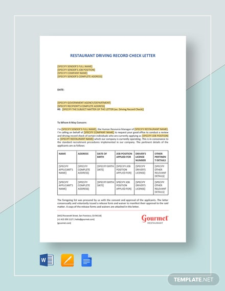 Restaurant Driving Record Check Letter Template