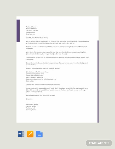 free sales job offer letter template download 700 letters in word