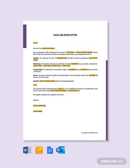 Free Sales Job Offer Letter Template
