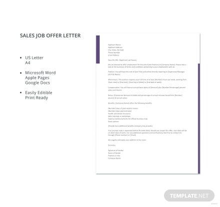 Captivating Free Sales Job Offer Letter Template
