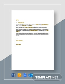 Restaurant Confirmation of Interview Appointment Letter Template