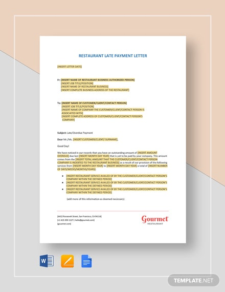 Restaurant Late Payment Letter Template