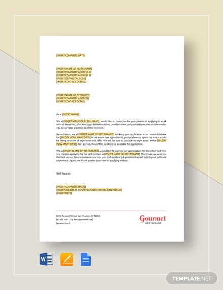 Applicant Rejection Letter Template
