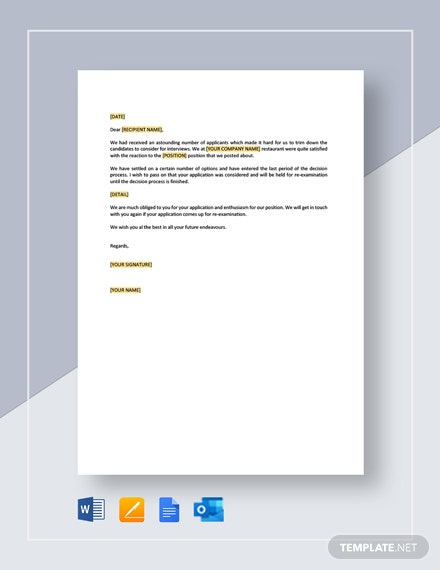 Restaurant Application Response Letter Template
