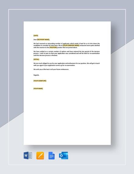 Restaurant Application Response Letter