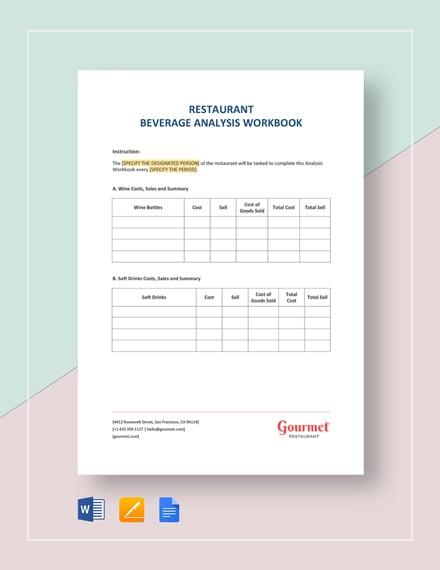 Restaurant Beverage Analysis Workbook Template