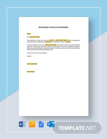 Restaurant Letter of Suspension Template