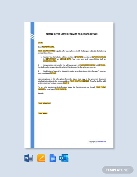 Free Simple Offer Letter Format for Corporation
