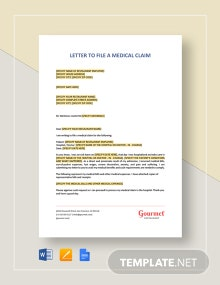 Restaurant Letter to File a Medical Claim Template