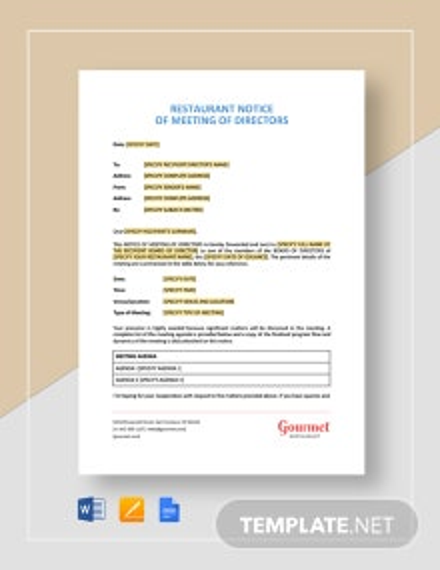 Restaurant Notice of Meeting of Directors Template