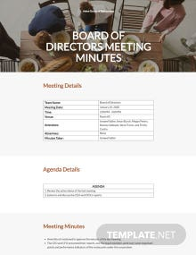 Restaurant Minutes of Meeting of Directors Template