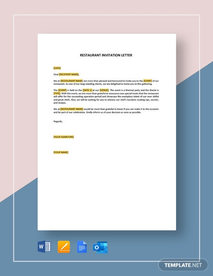 Restaurant Invitation Letter Template