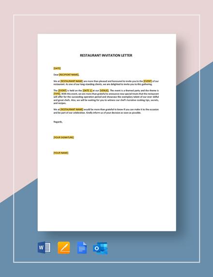 Restaurant Invitation Letter Template