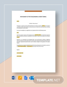 Restaurant Letter Challenging a Credit Denial Template