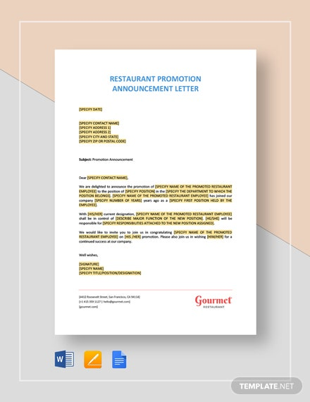 Restaurant Promotion Announcement Letter Template