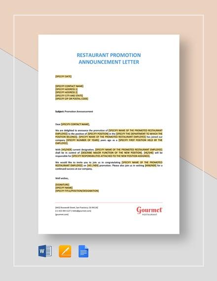 Restaurant Promotion Announcement Letter Template