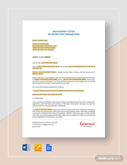 Restaurant Letter of Intent for Transaction Template