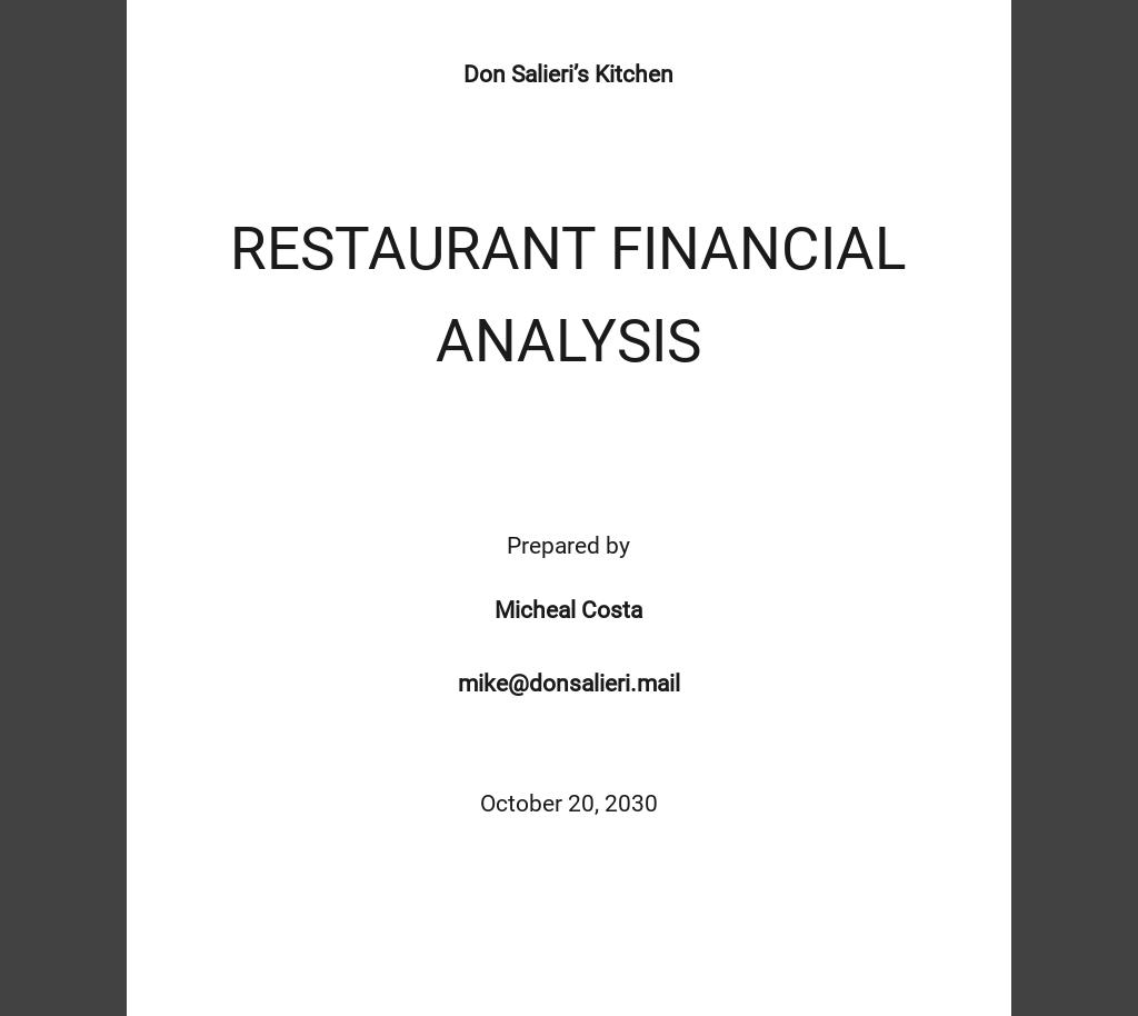 Restaurant Financial Analysis Template