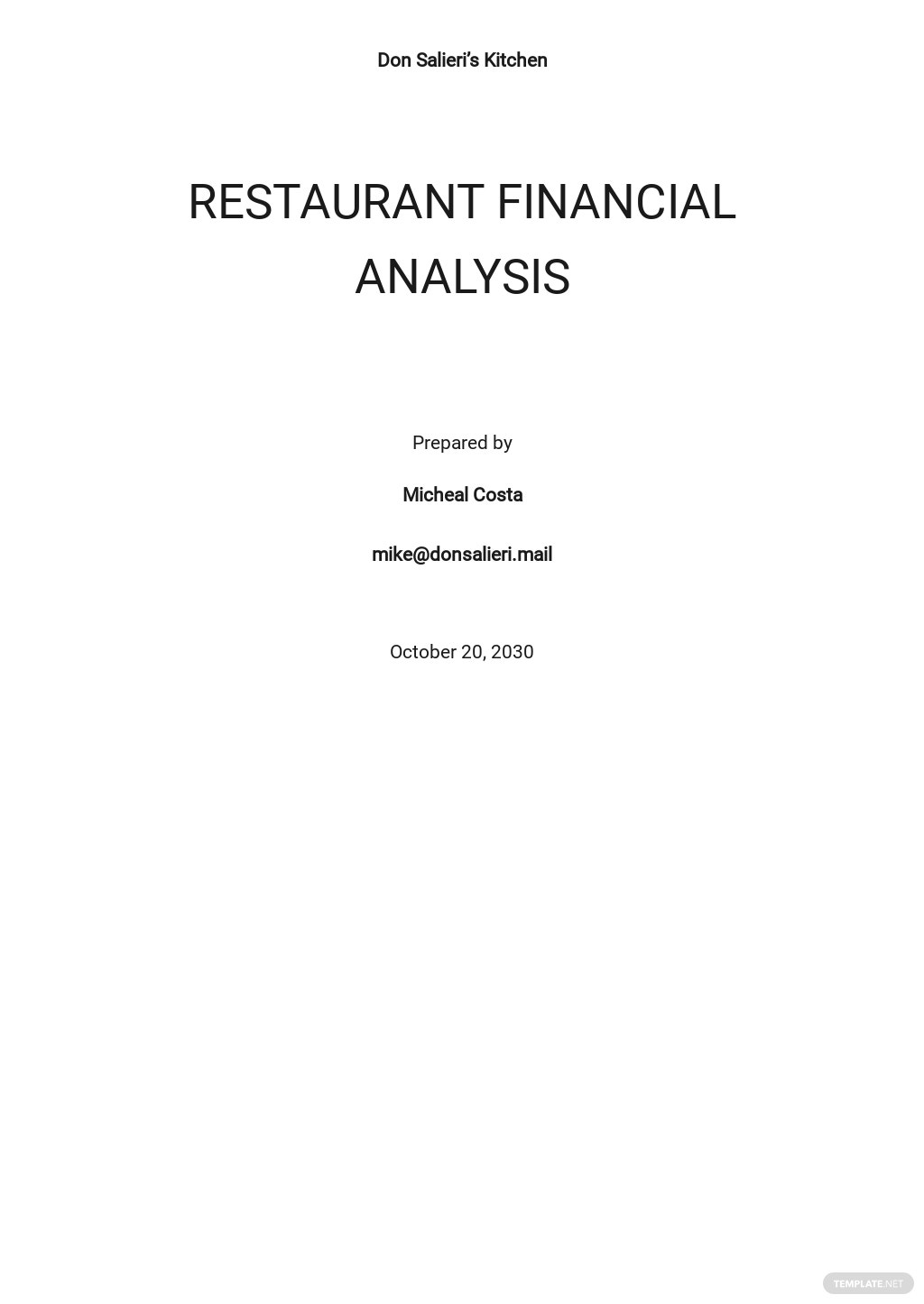 Restaurant Financial Analysis Template